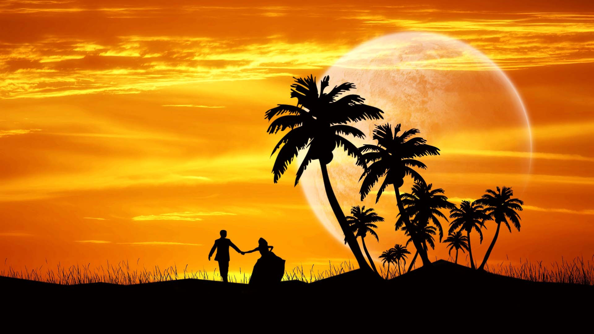 Download HD Boy And Girl Running At Evening Wallpaper WallpapersByte 1920x1080