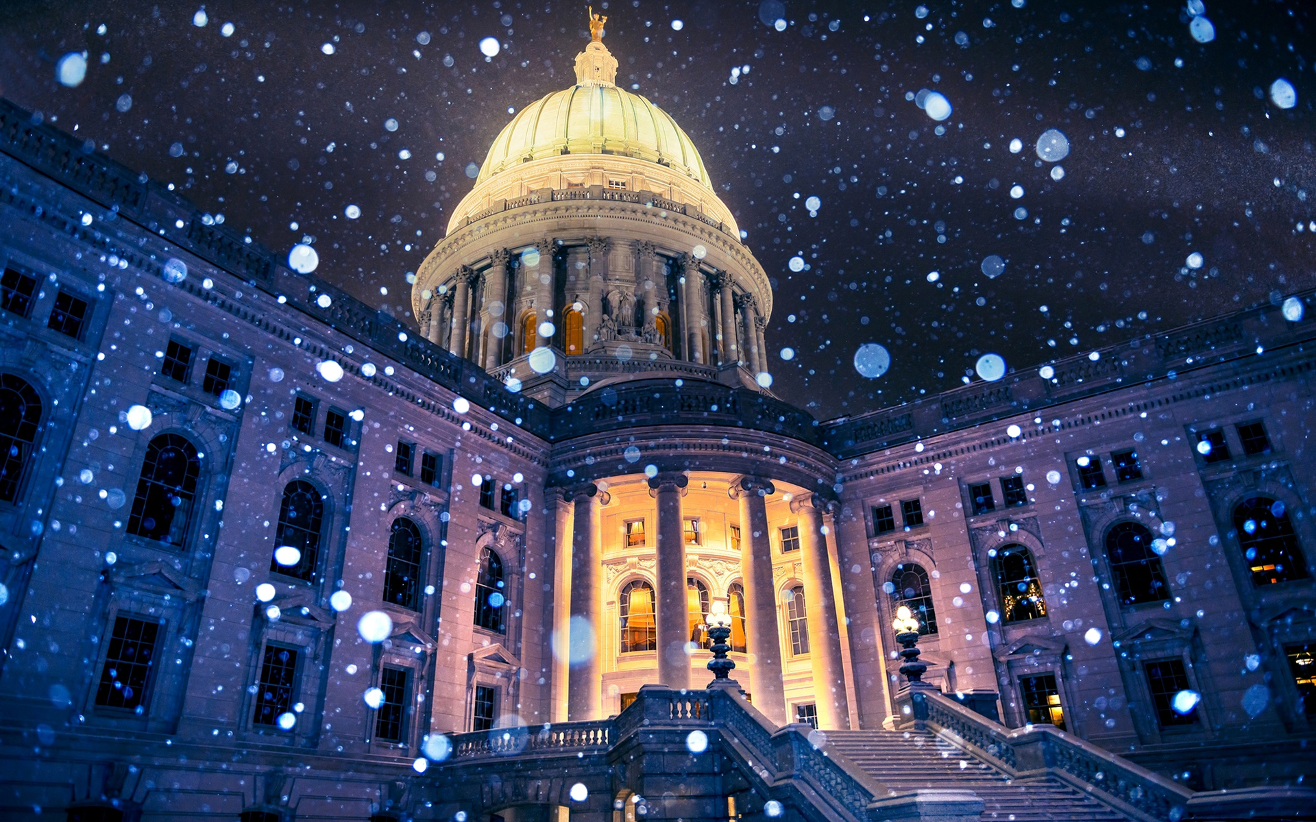 USA Madison Wisconsin Capitol Snowflakes HD Wallpaper 1920x1200