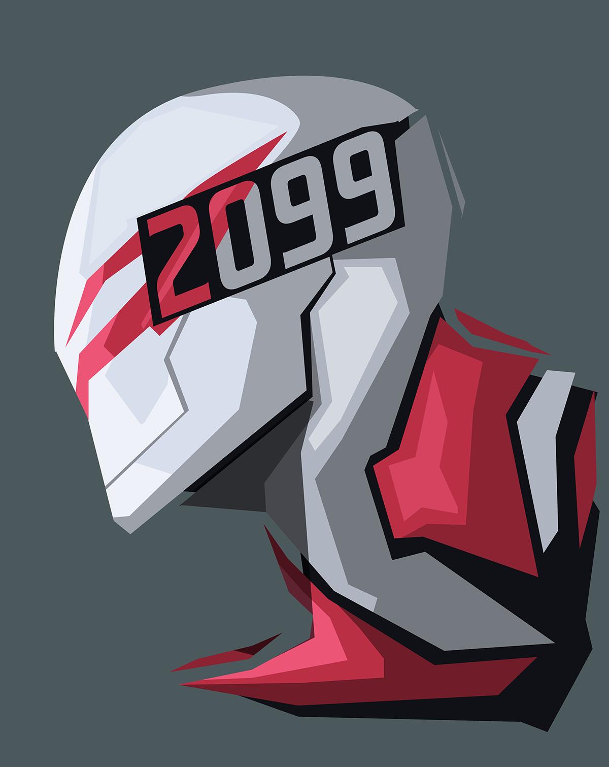 Spider Man 2099 gray background Marvel Comics wallpaper 1200x1510