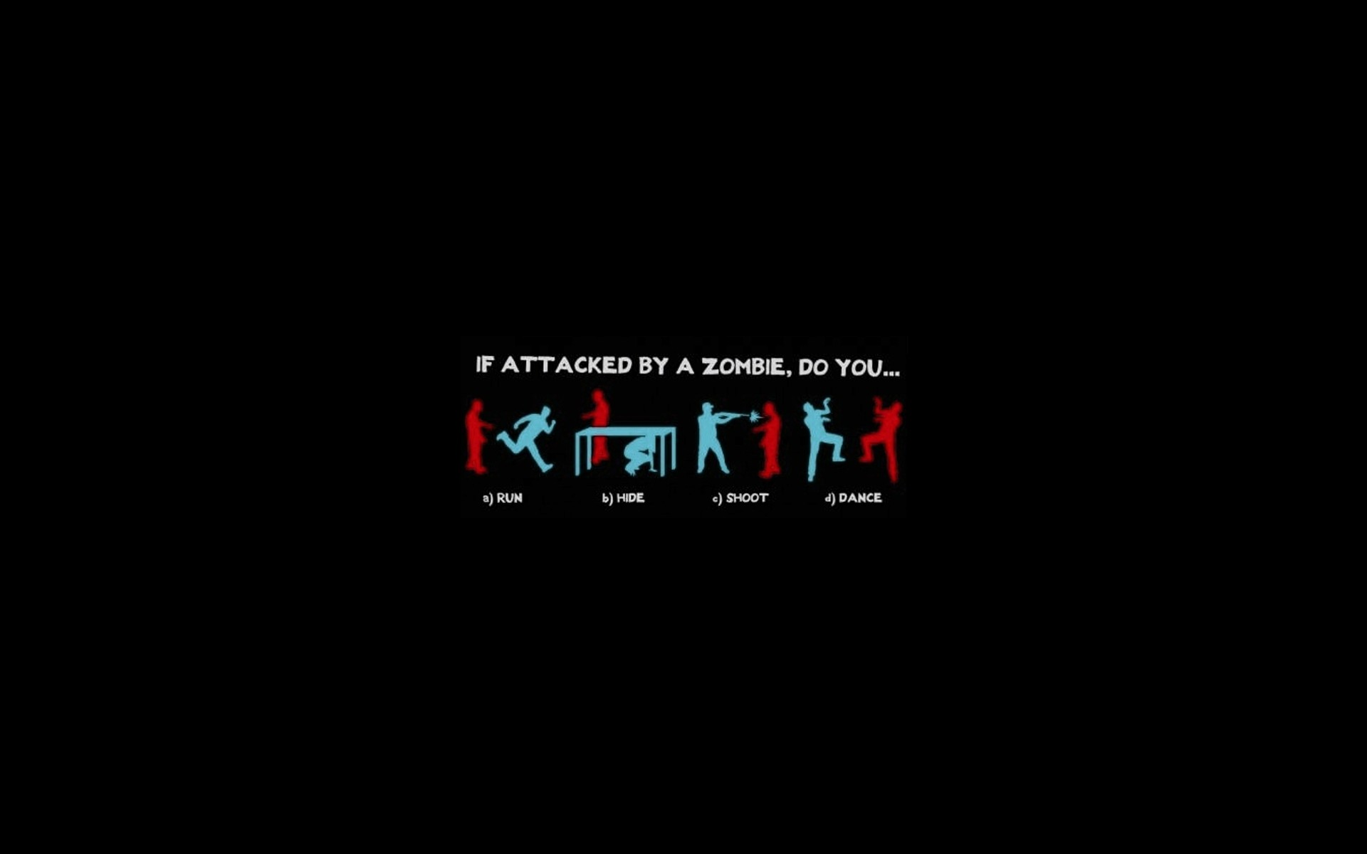 minimalistic dark zombies humor funny dancing run black 1920x1200