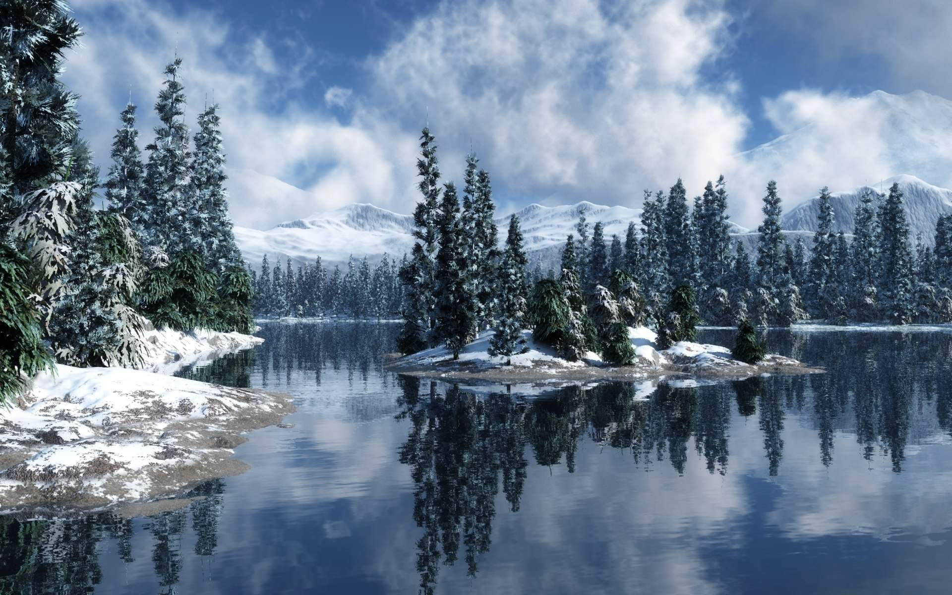 Snowy Screensavers Forest Christmas wallpapers HD free - 201957