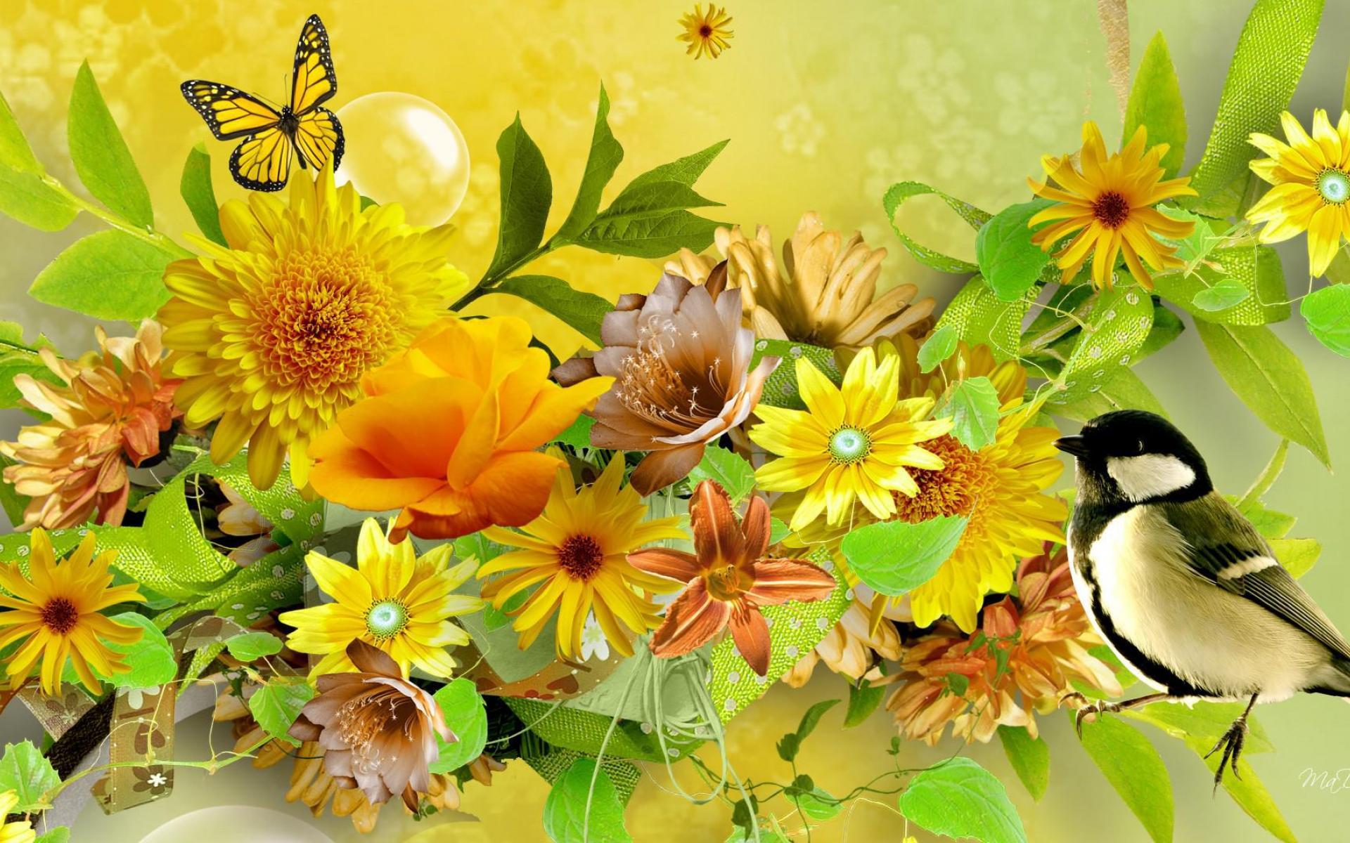 Племяшка, красивые картинки с цветами бабочками птичками росой дождем