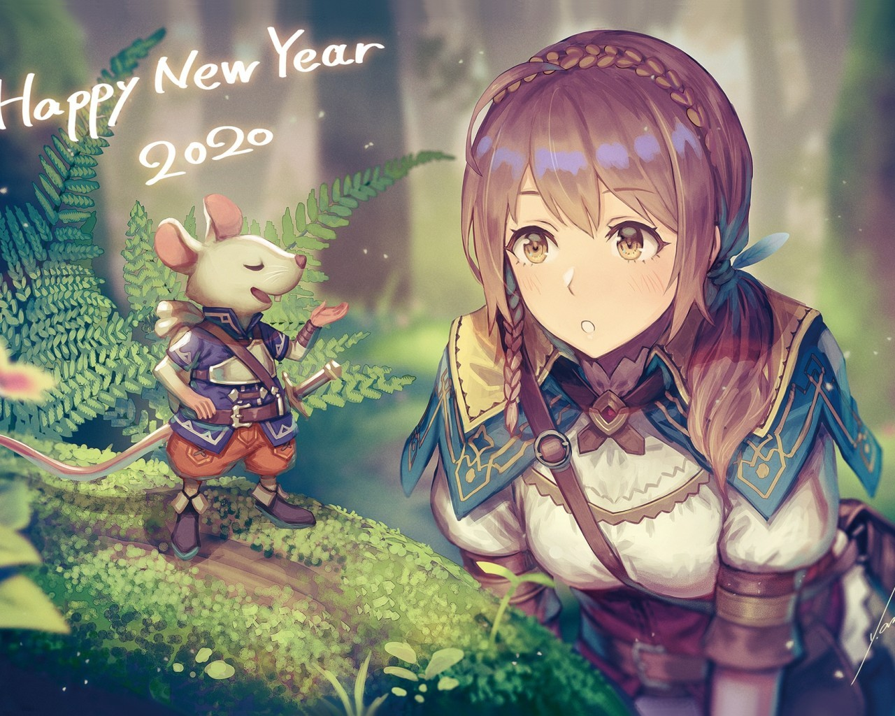 Download 1280x1024 Anime Girl Adventurer Forest Light Armor 1280x1024