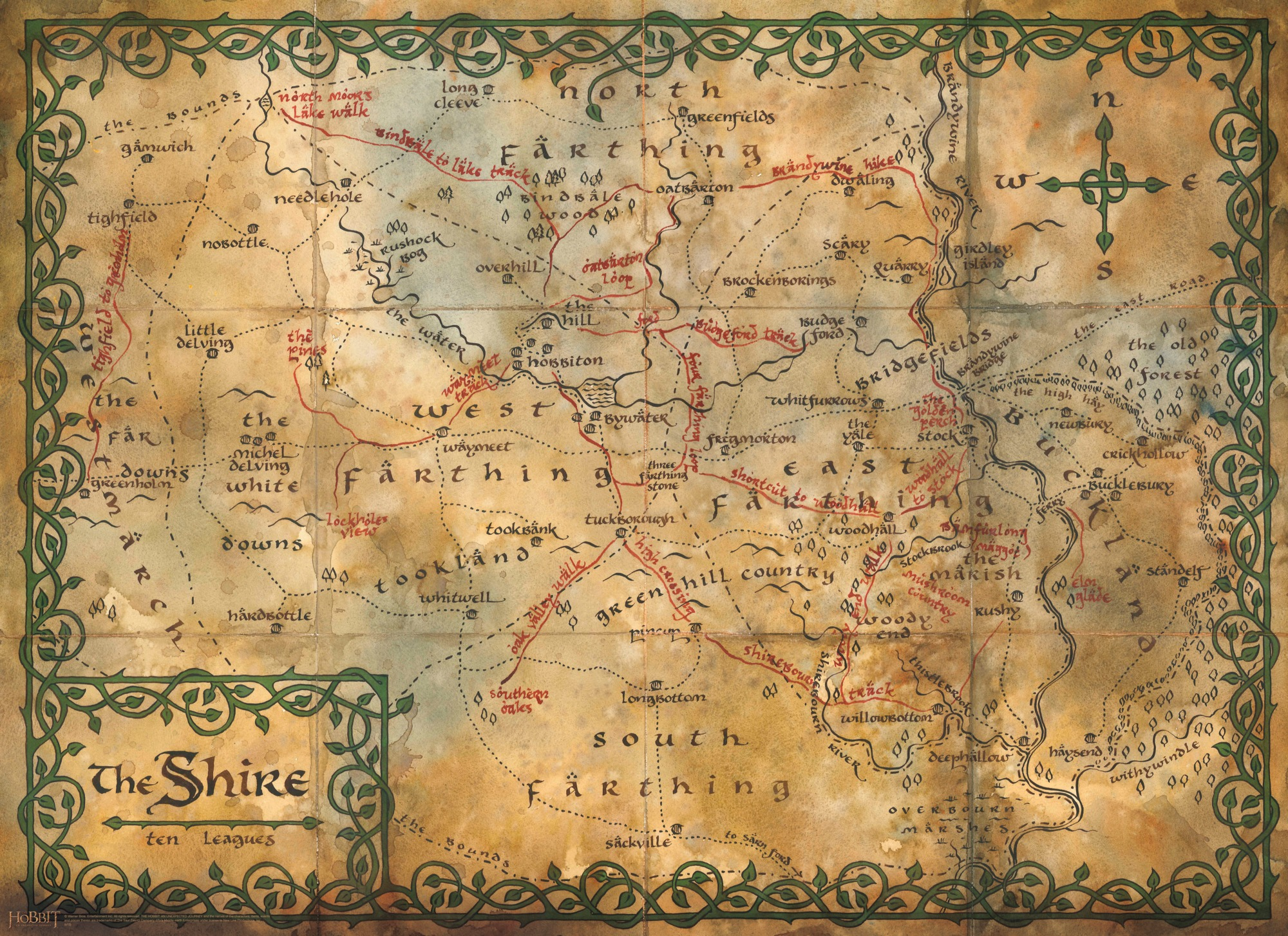 Hobbit Map Wallpaper Map of the shire middle earth 2000x1454