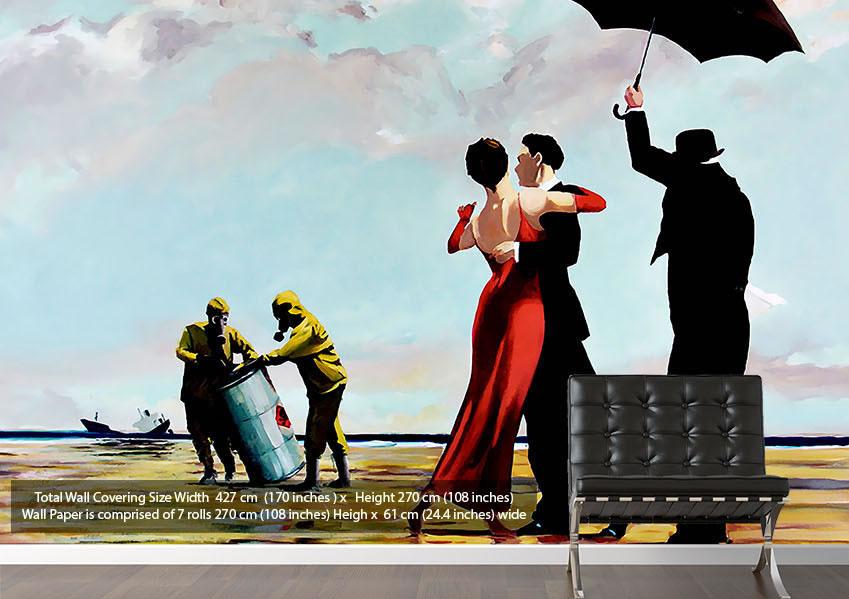 Banksy wallpaper for interiors wallpapersafari for Banksy mural wallpaper
