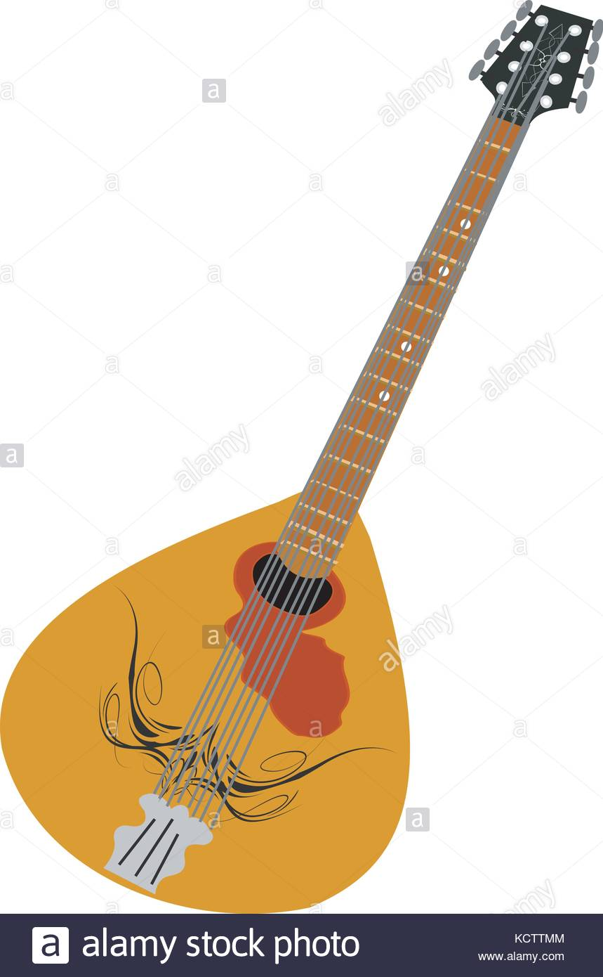 Musical instrument mandolin on white background Stock Vector Art 859x1390