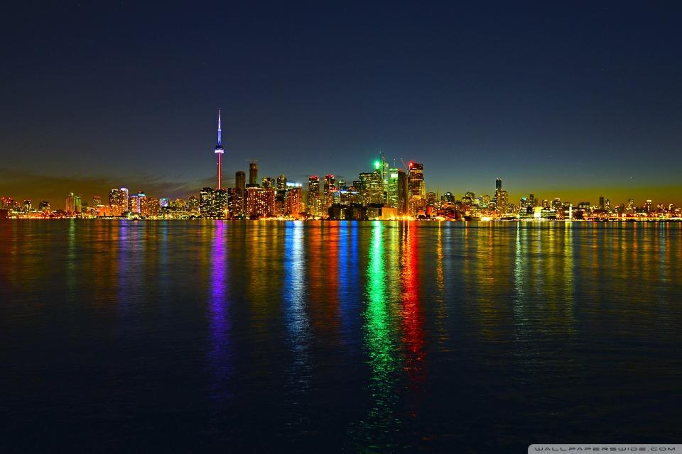 Toronto Skyline at Night HD desktop wallpaper Widescreen High 960x640