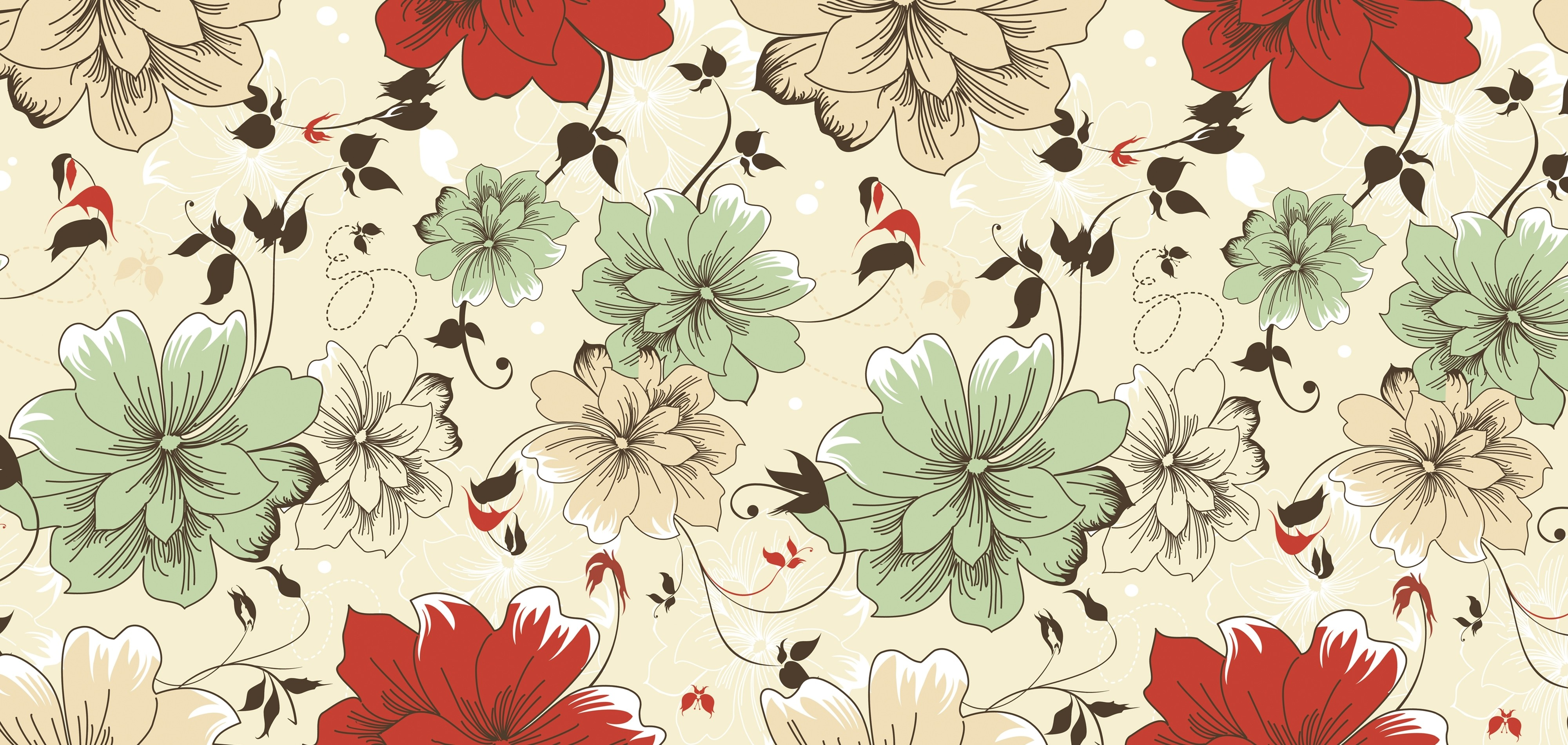Free Download Wallpaper Vintage Floral Wallpapers 4000x1900 For