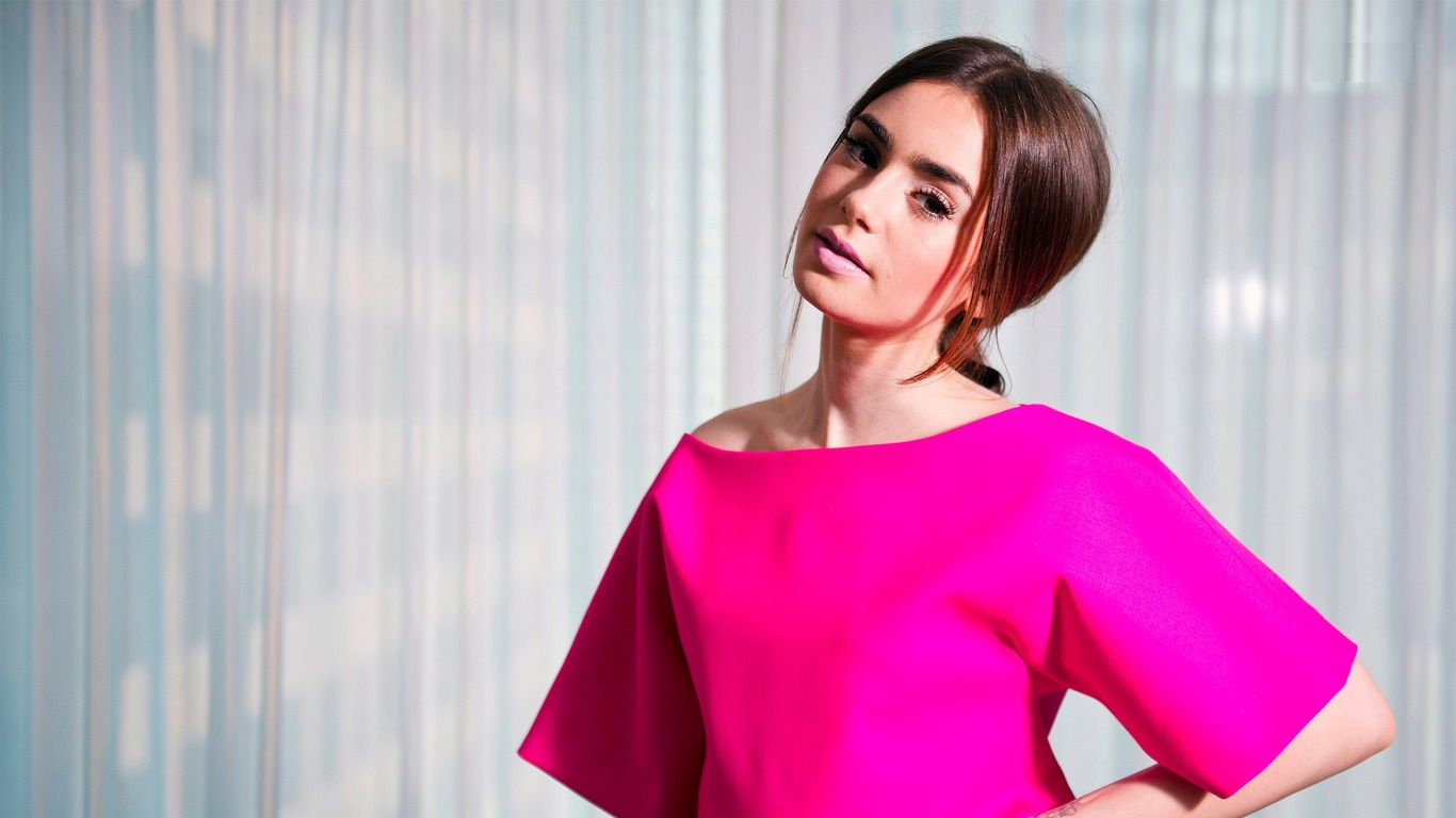 Lily Collins HD Wallpapers 1366x768