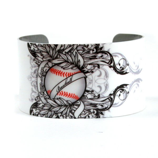 Softball Mom on White Background Aluminum Cuff 600x600