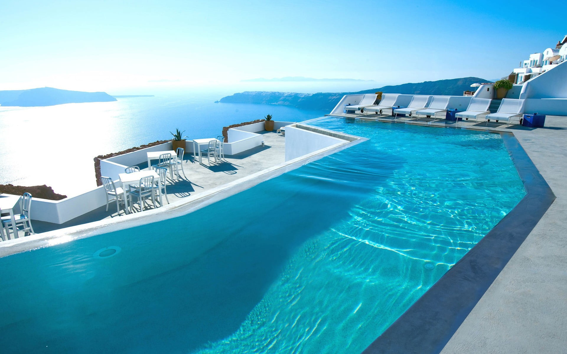 Swimming pool Greece Santorini hotel luxury HD wallpaper 1920x1200