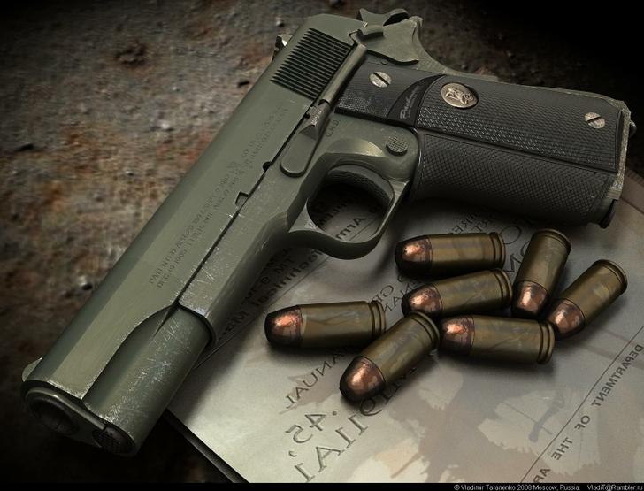 M1911 pistol wallpaper Wallpaper Wide HD 728x555