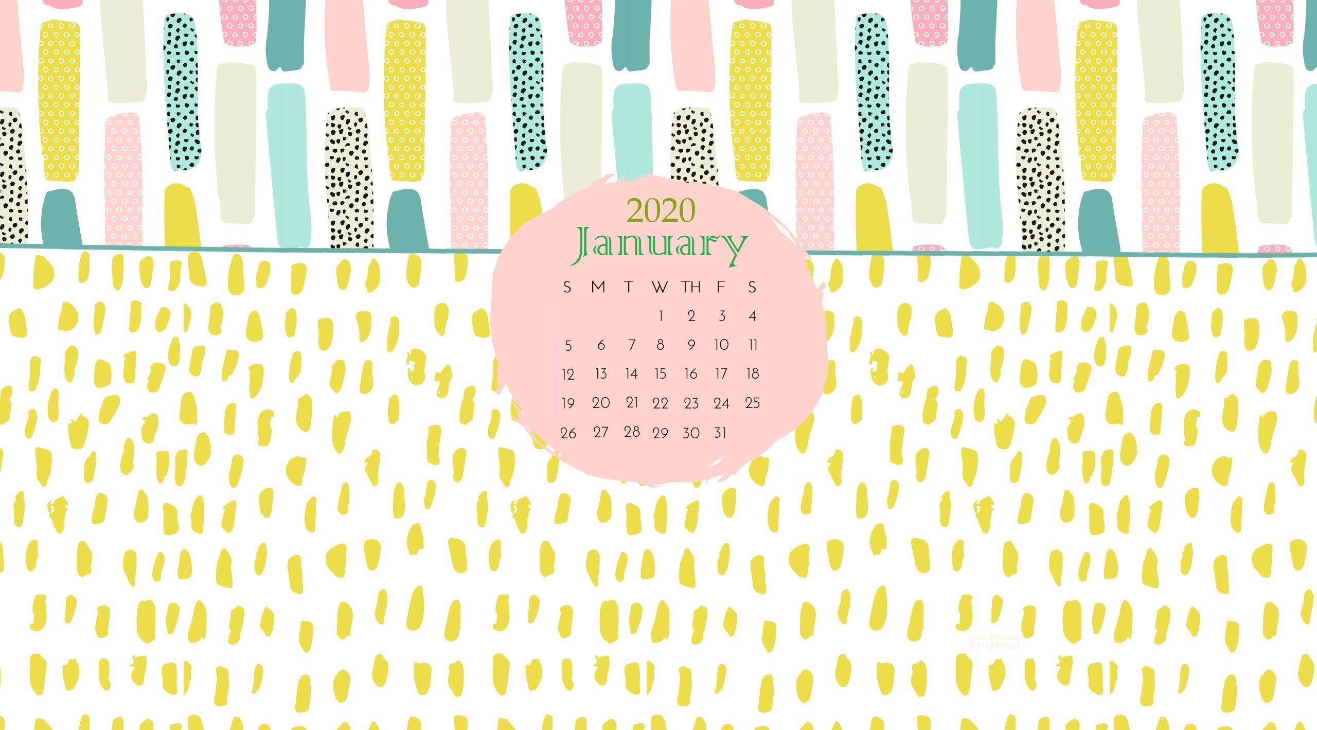 January 2020 Cute Calendar Calendar 2019 2560x1419