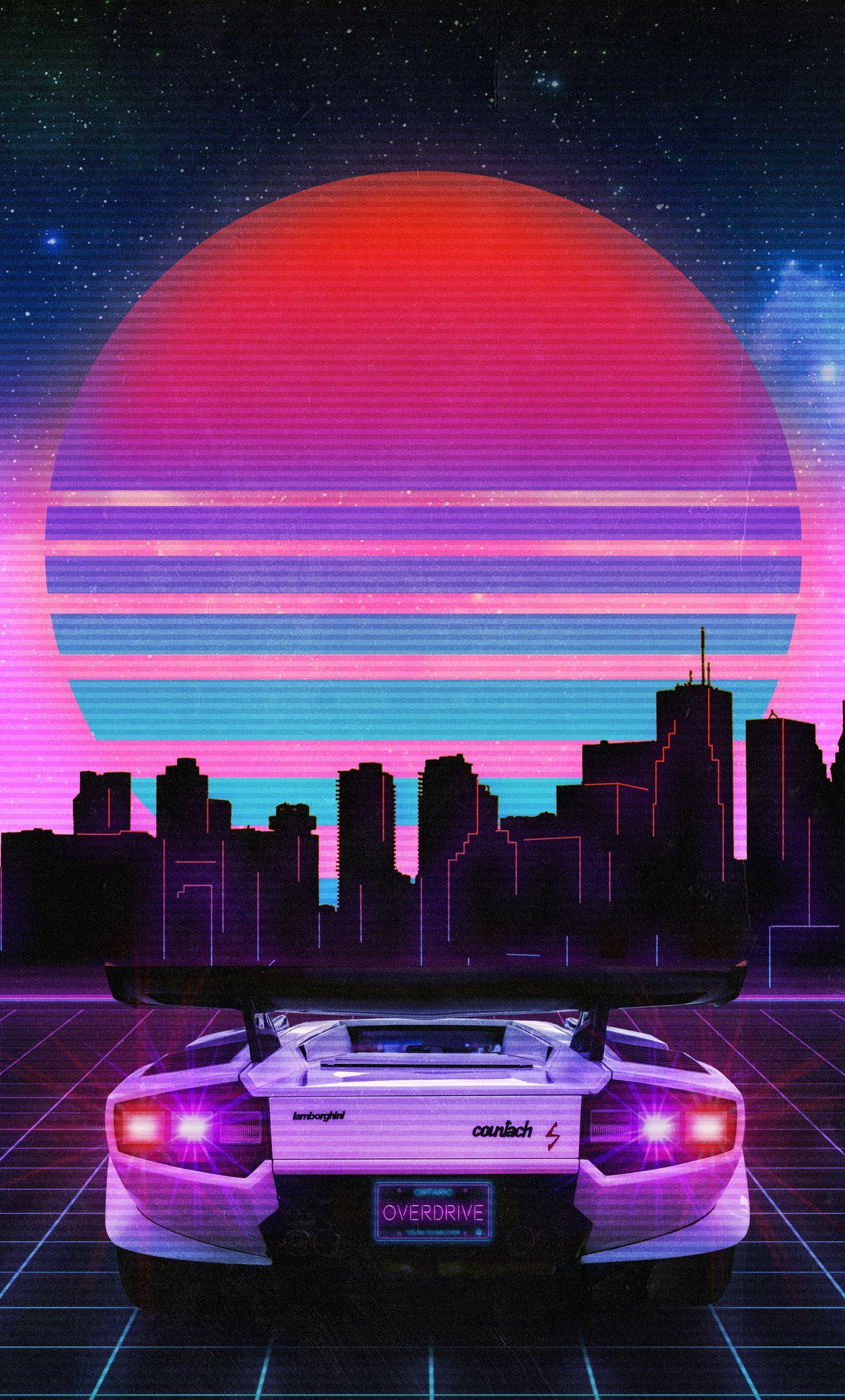 1280X2120 Retro Wave Lamborghini Neon City 5K Iphone 6 Hd 4K 1280x2120
