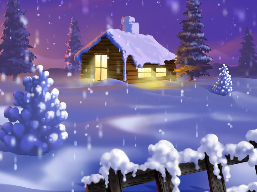 Vector   Silent Winter Night House   iPad iPhone HD Wallpaper 1024x768