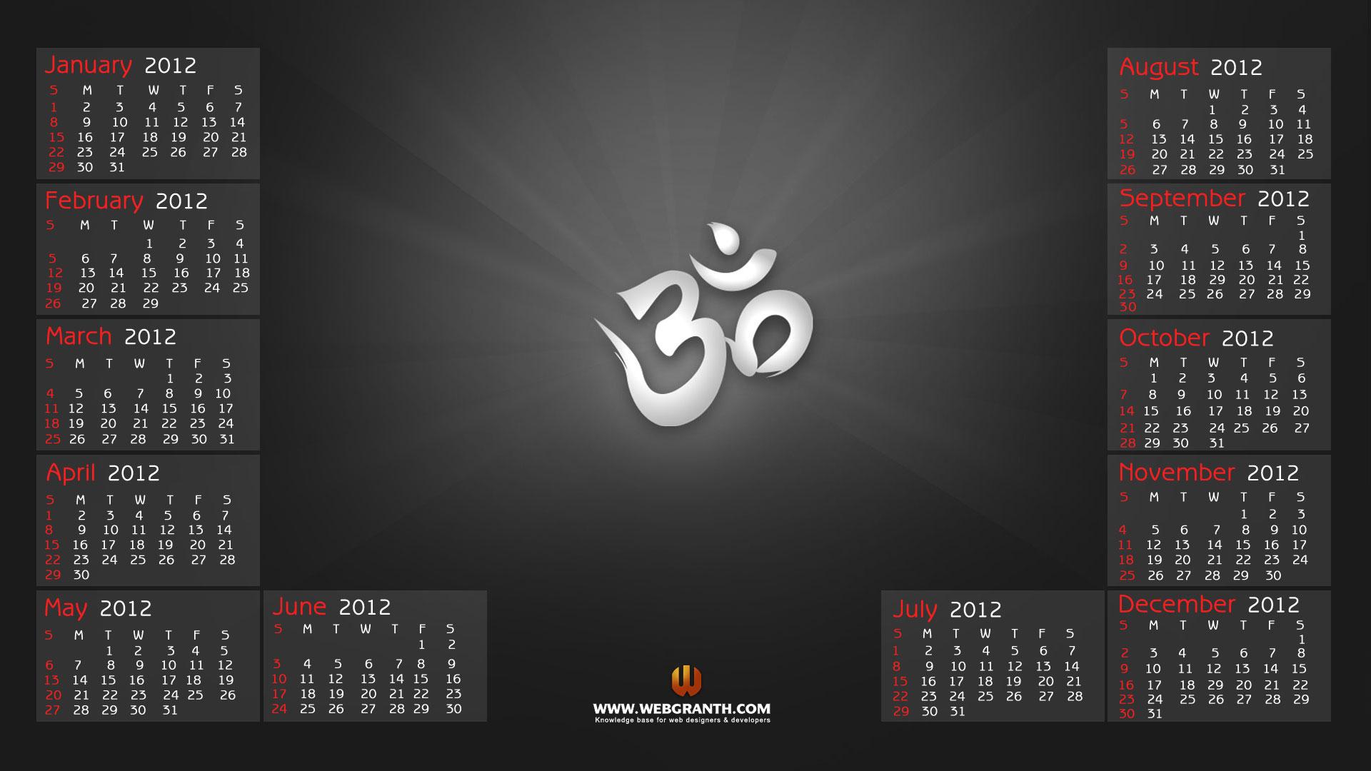 Year 2012 Calendar Best Desktop Wallpaper Calendar 2012 2016 1920x1080
