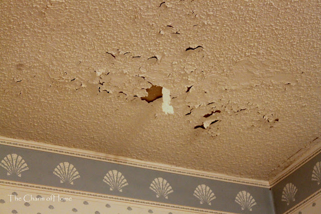 The original drywall tape was falling down and the wallpaper was 640x427