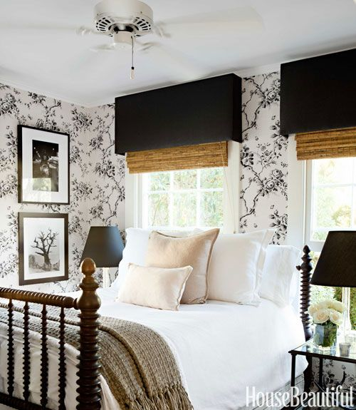 wallpaper turns a small guest room into a romantic retreat   Modern 500x575