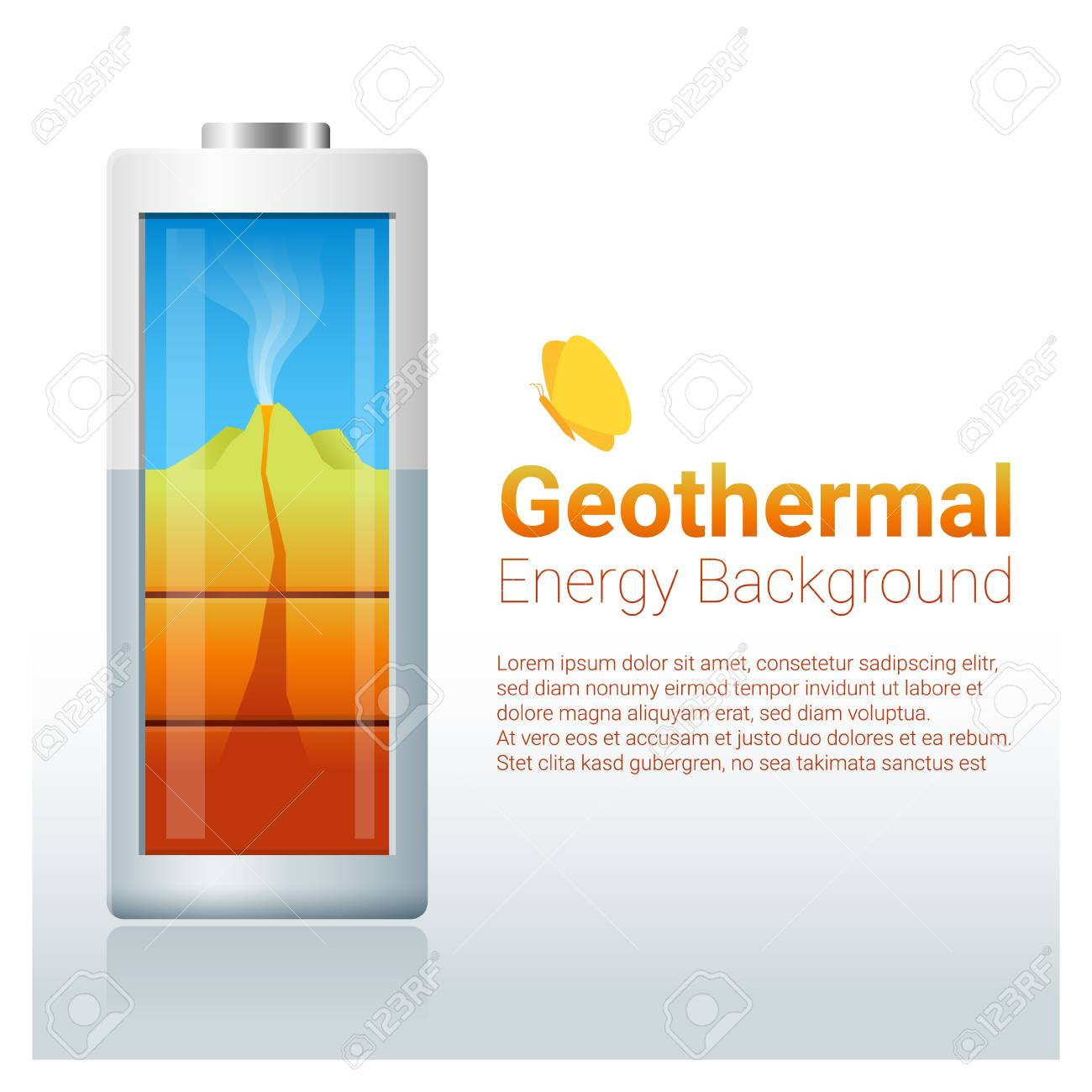 Green Energy Concept Background With Geothermal Charging Battery 1300x1300
