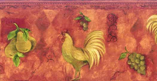 Red Rooster Fruit Wallpaper Border   Wallpaper Border Wallpaper 525x271