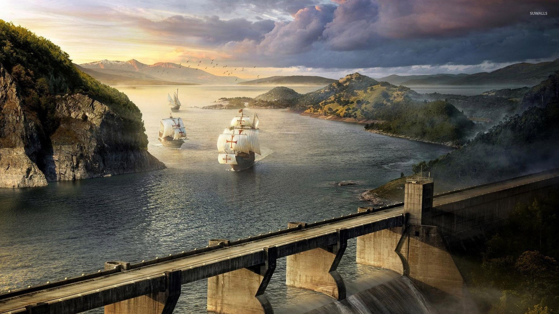 Ships near the dam wallpaper   Fantasy wallpapers   28696 1920x1080
