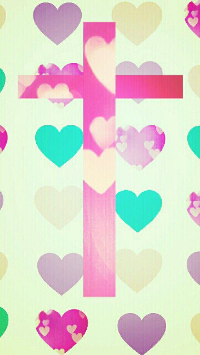 Cross and hearts wallpaper Cute patterns Pinterest 640x1136