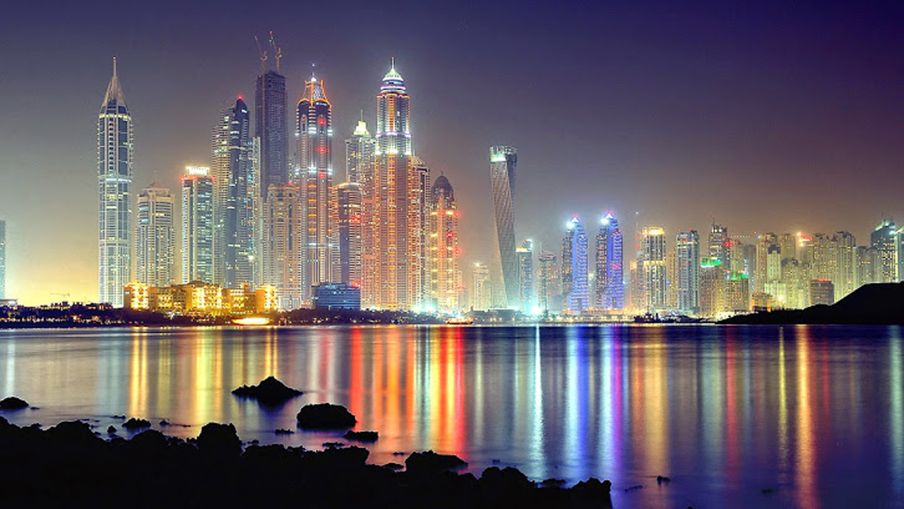 Sea Side City at Night   123mobileWallpaperscom 1280x720