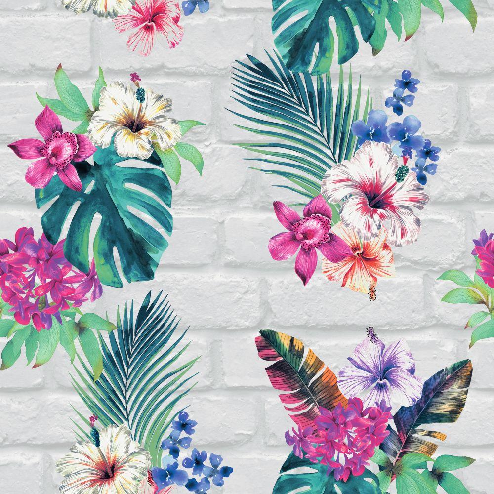 Camden Brick Floral by Accessorize   Multi Coloured   Wallpaper 1000x1000