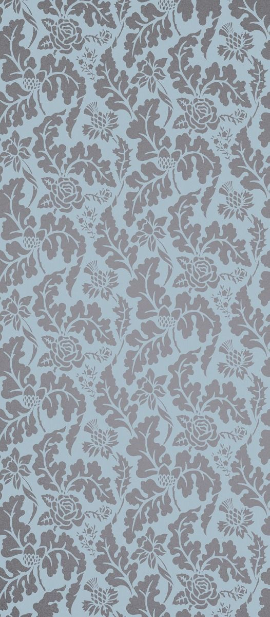 British Isles Damask Wallpaper in Turquoise and Gray from the 526x1200