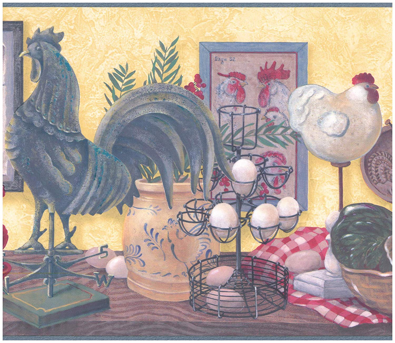 Amazoncom Prepasted Wallpaper Border   Rooster Hen Eggs on Table 1500x1303