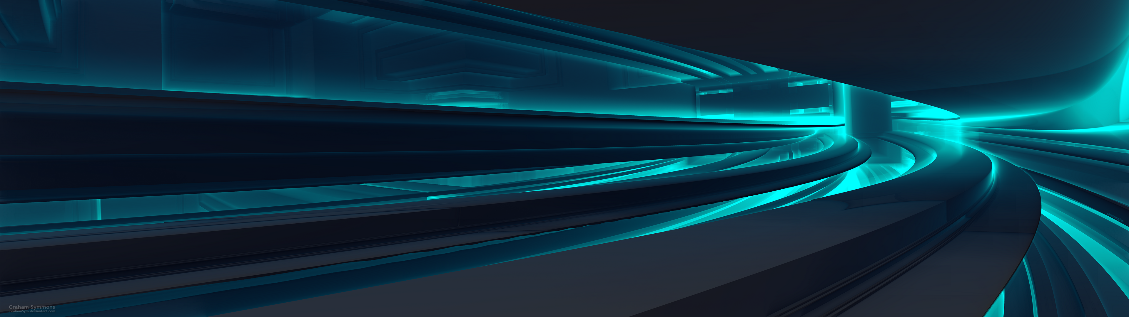 Underpass 3840x1080 Dual Display Fractal by GrahamSym 3840x1080