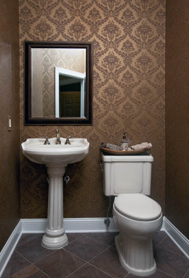 Wallpapered Powder Room   Traditional   Powder Room   new york   by 374x550