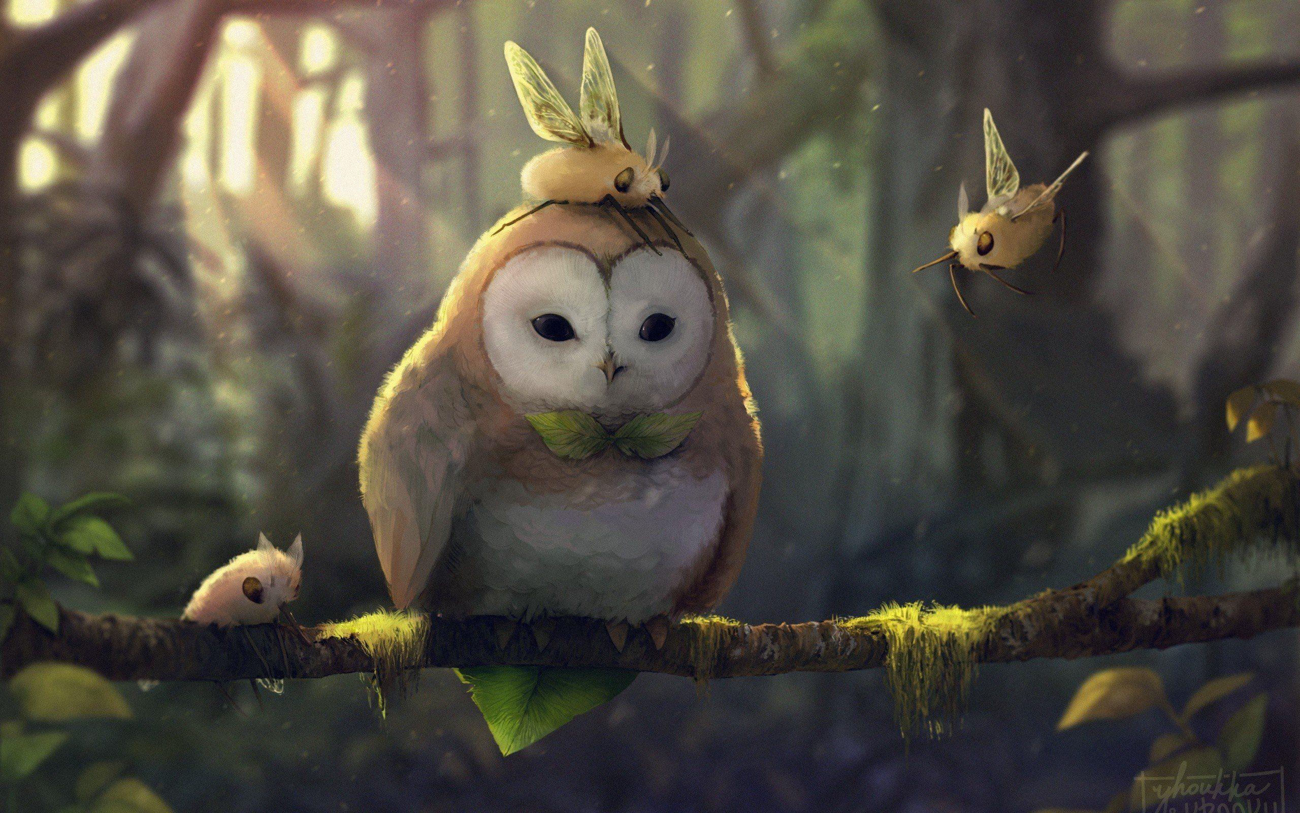 fantasy art Artwork Pokmon Rowlet Pokmon Cutiefly pokemon 2560x1600