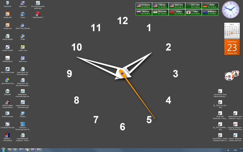 Desktop Background   You can undock a clock make it large and 800x500