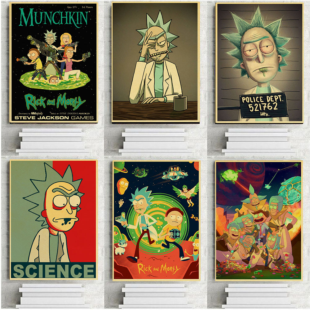 Rick and Morty Cartoon Anime Posters Retro Kraft Wallpaper High 1000x1000