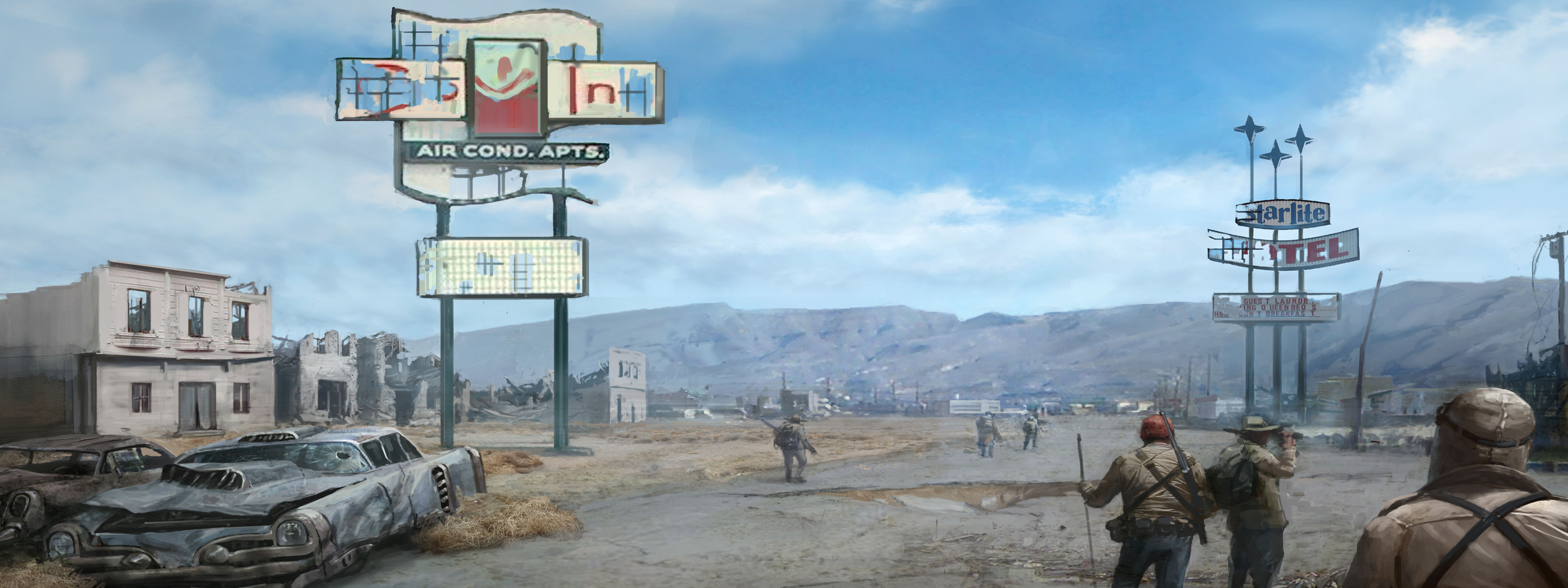 Fallout New Vegas Dual Monitor Wallpaper 3200x1200
