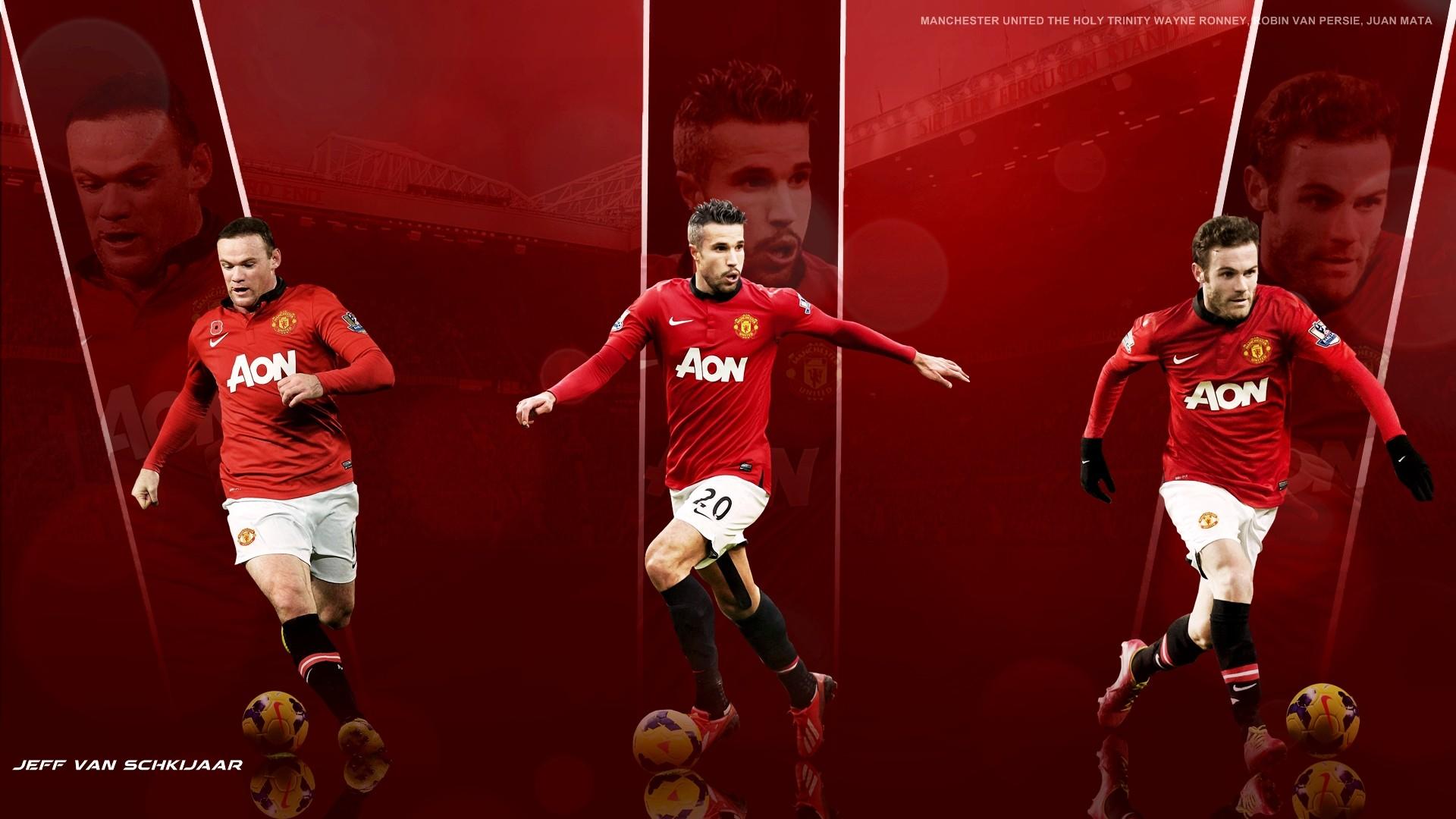 Wayne Rooney Robin Van Persie And Juan Mata Manchester 1920x1080