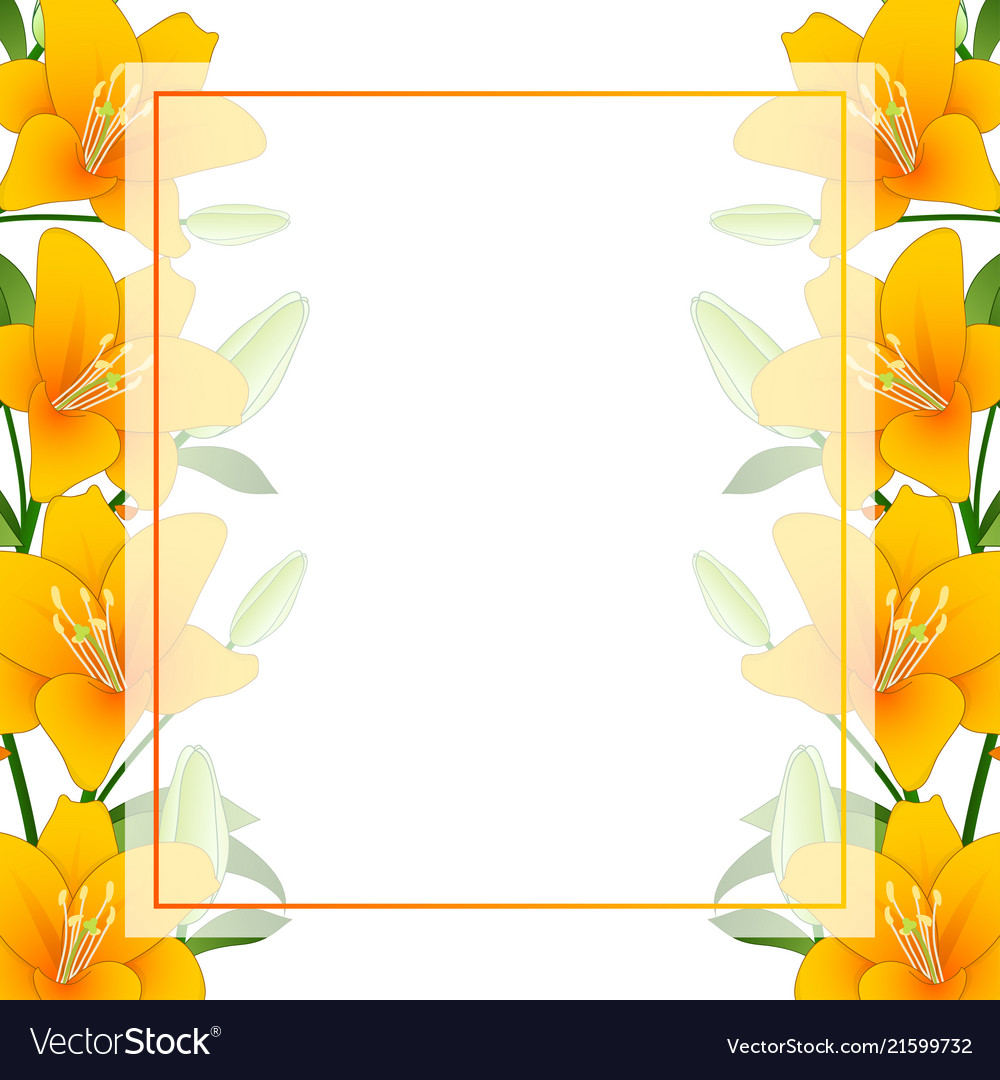 Orange lily banner card border on white background 1000x1080