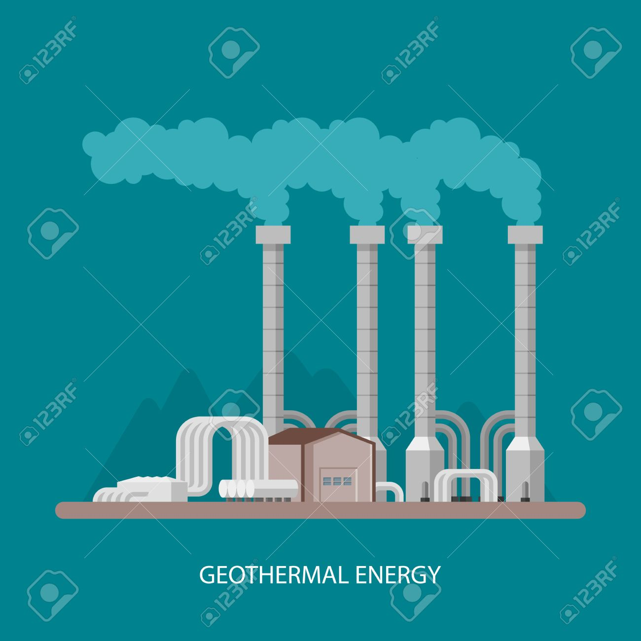 Geothermal Power Plant And Factory Geothermal Energy Industrial 1300x1300