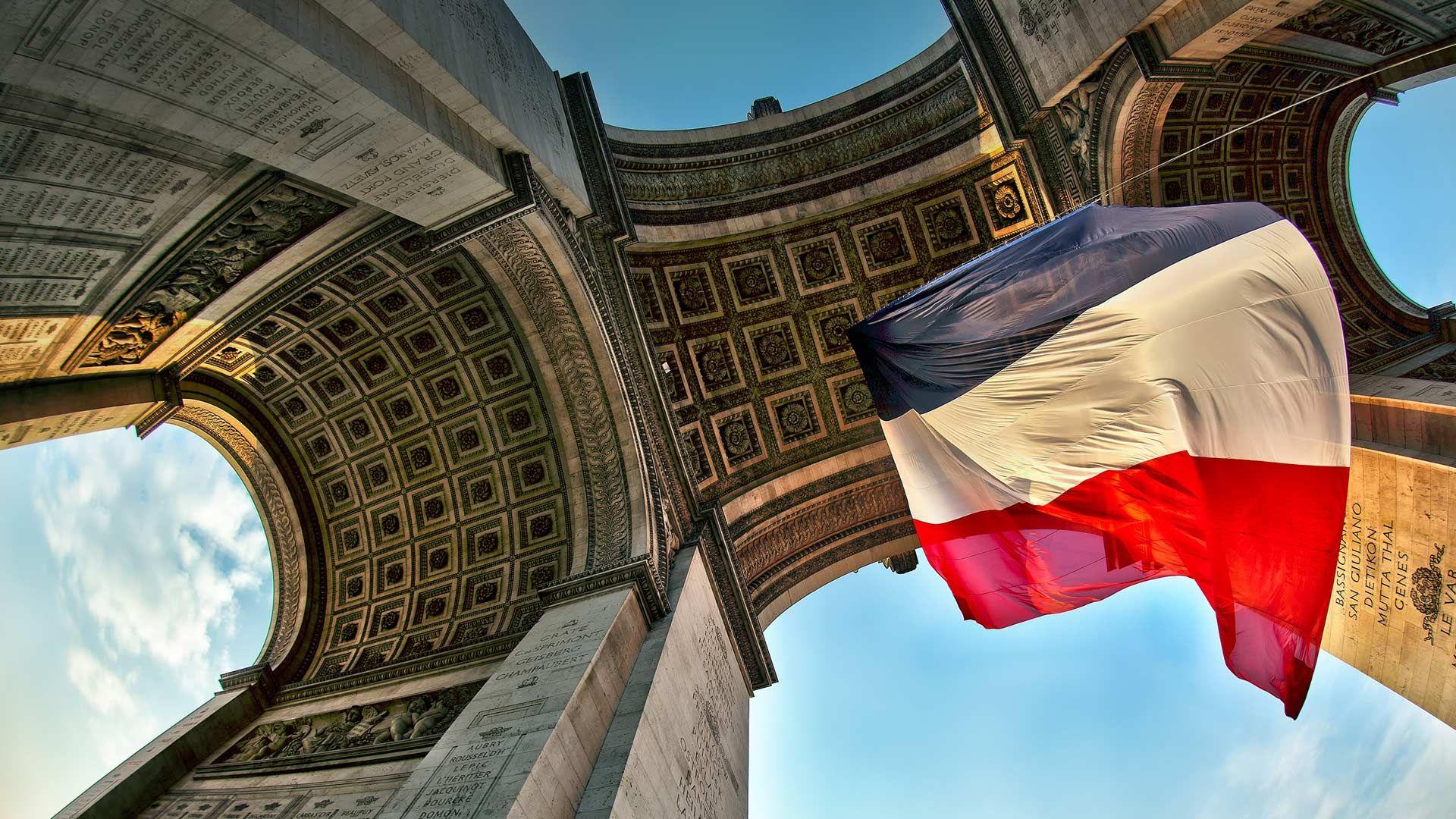 Arc De Triomphe France Flag Beautiful Places Arc de triomphe 1920x1080