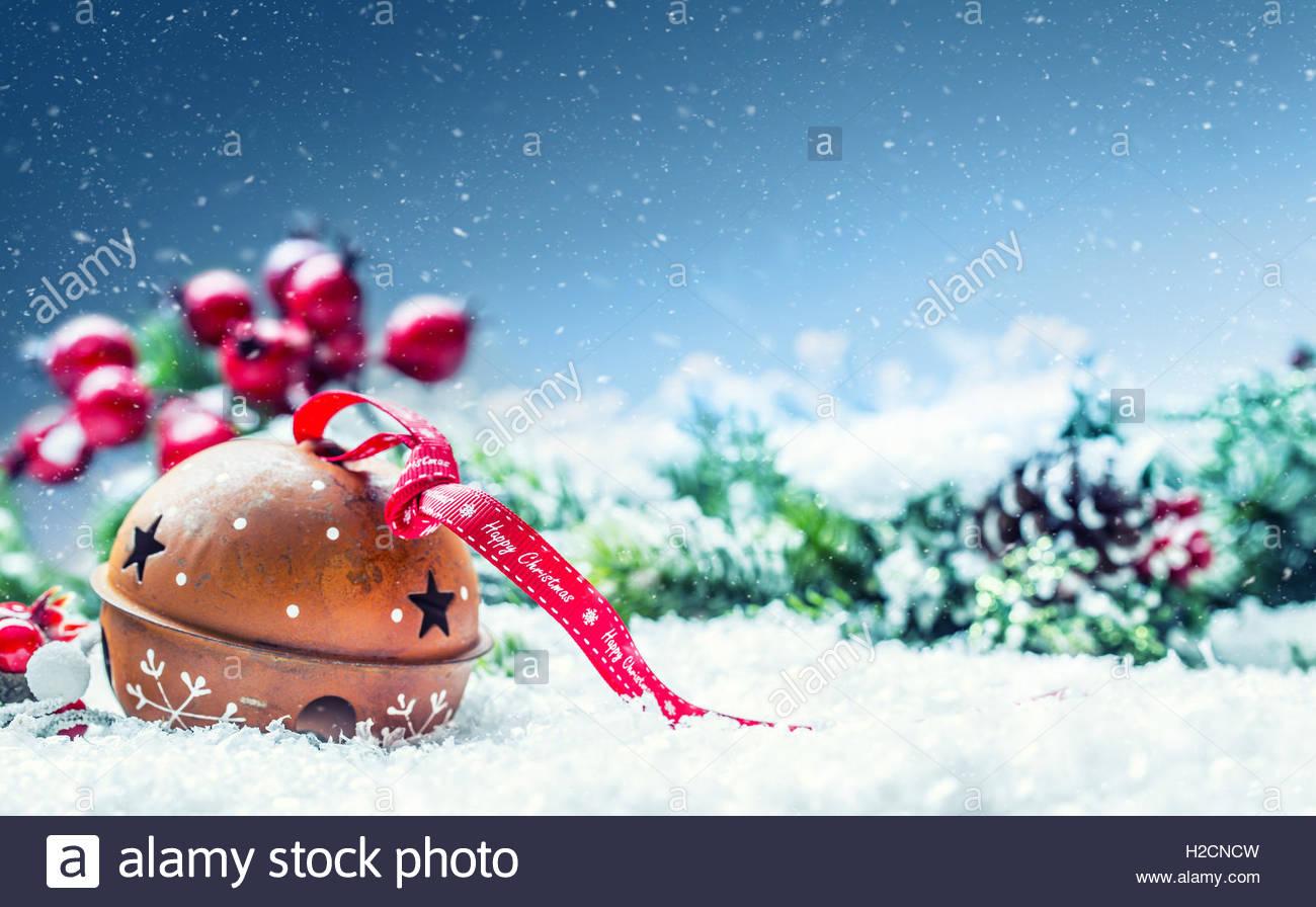 Christmas balls jingle bells Red ribbon with text Happy Christmas 1300x896