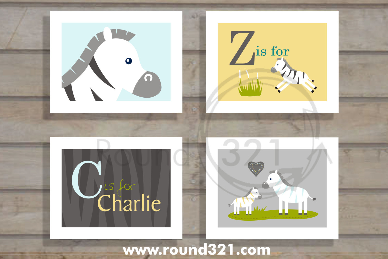 Round321com Products Personalized Name with Zebra Print Background 1500x1000