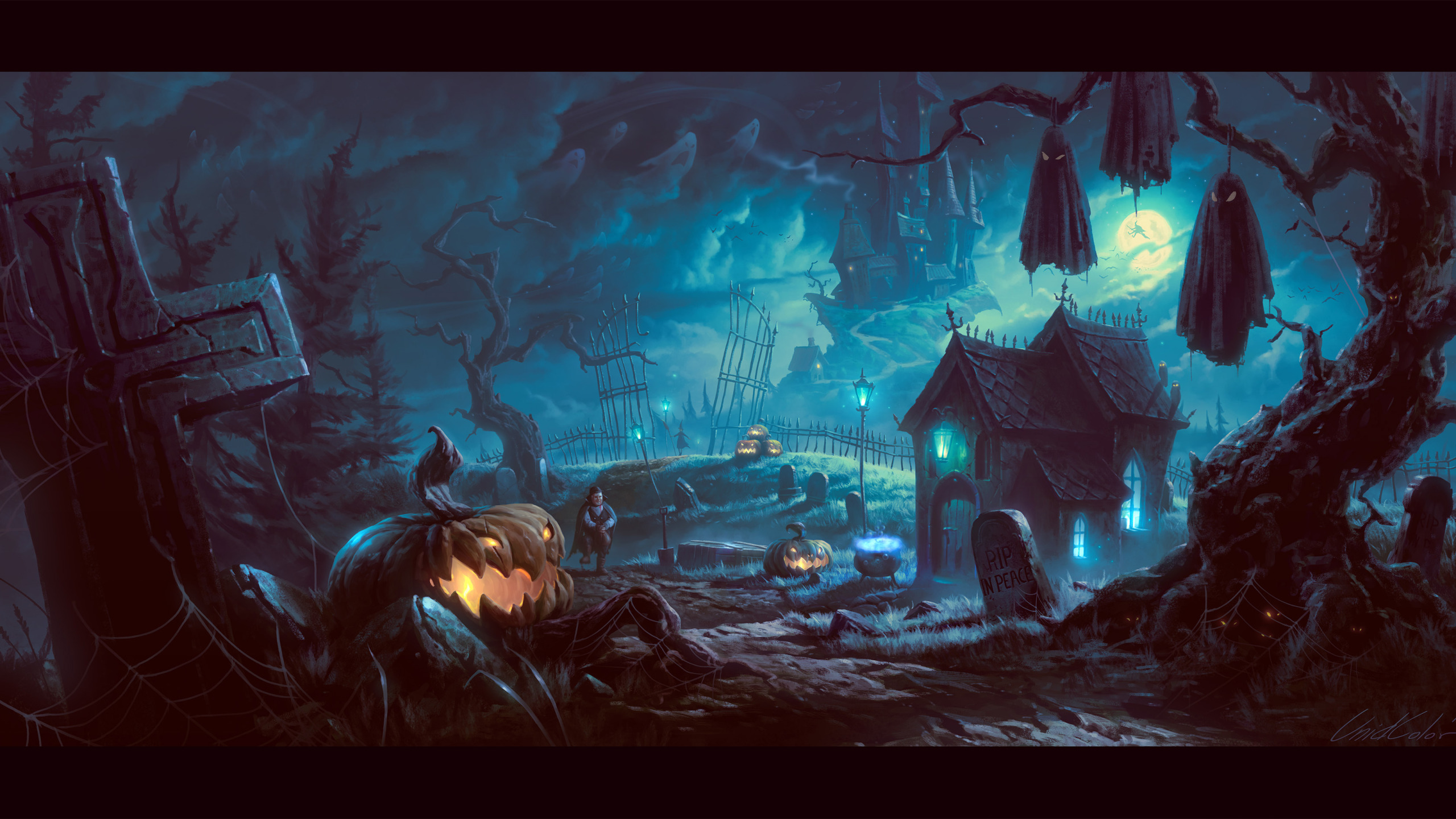 Halloween Night at the Cemetery widescreen wallpaper Wide 2560x1440