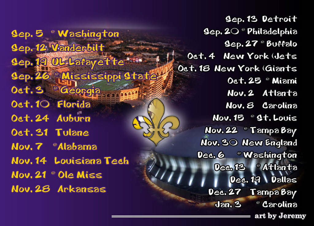 SAINTS LSU Schedule Wallpaper TigerDroppingscom 1024x739