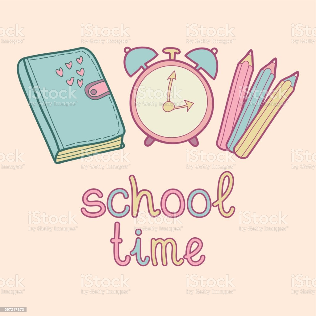 Vector Lettering Text School Time Cute Children Education 1024x1024