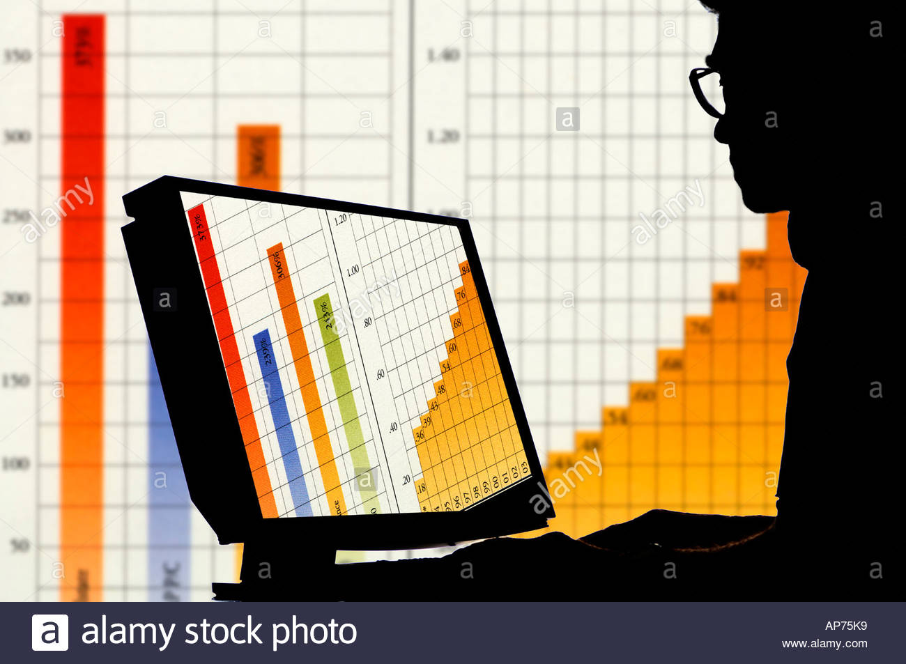 computer operator with financial data image on monitor and Stock 1300x953
