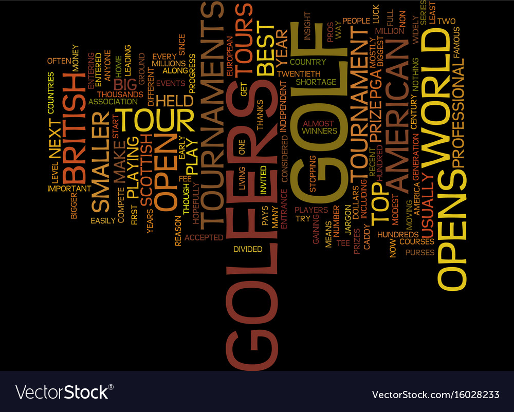 Golf tournaments an insight text background word Vector Image 1000x802