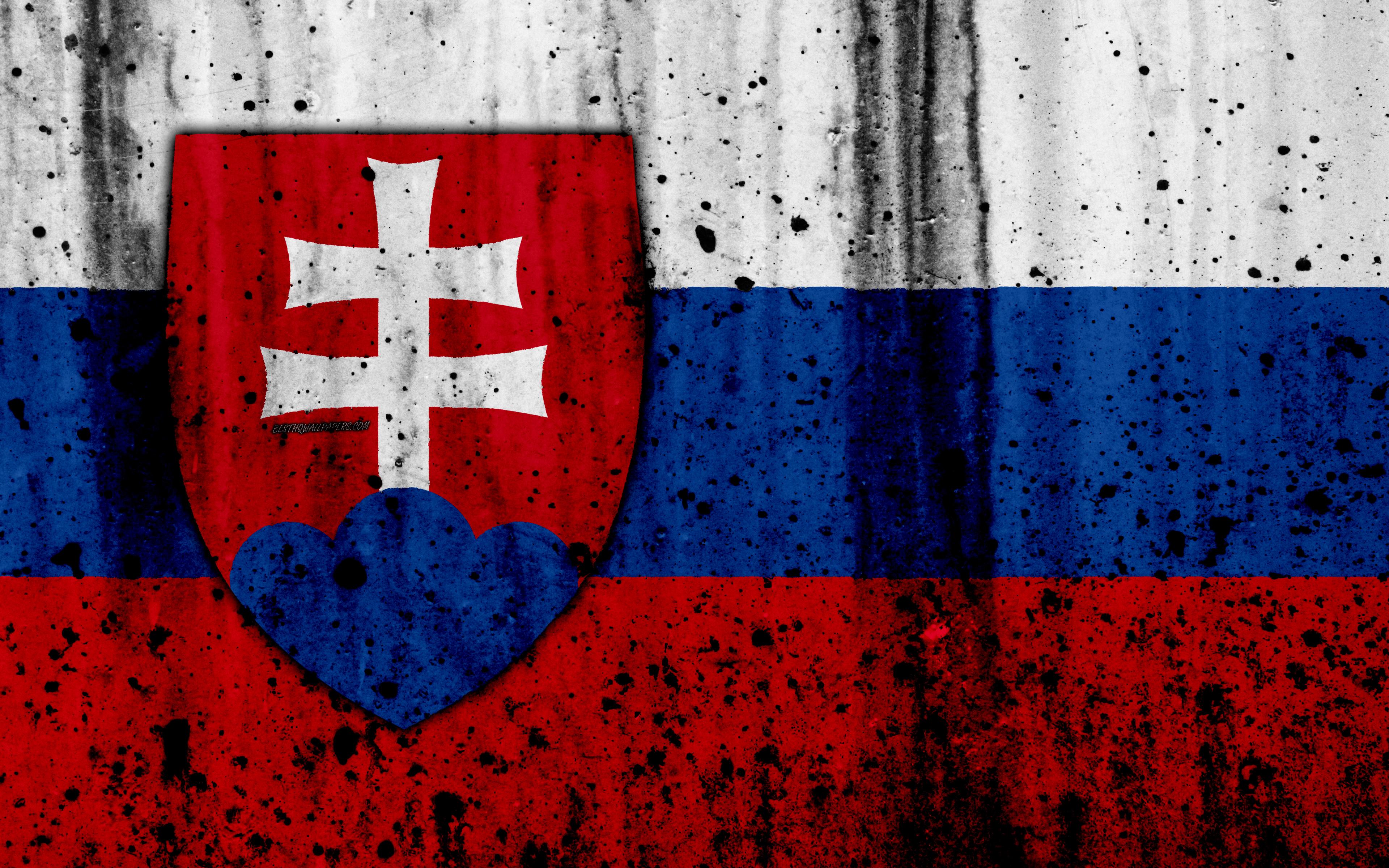 Download wallpapers Slovak flag 4k grunge flag of Slovakia 3840x2400