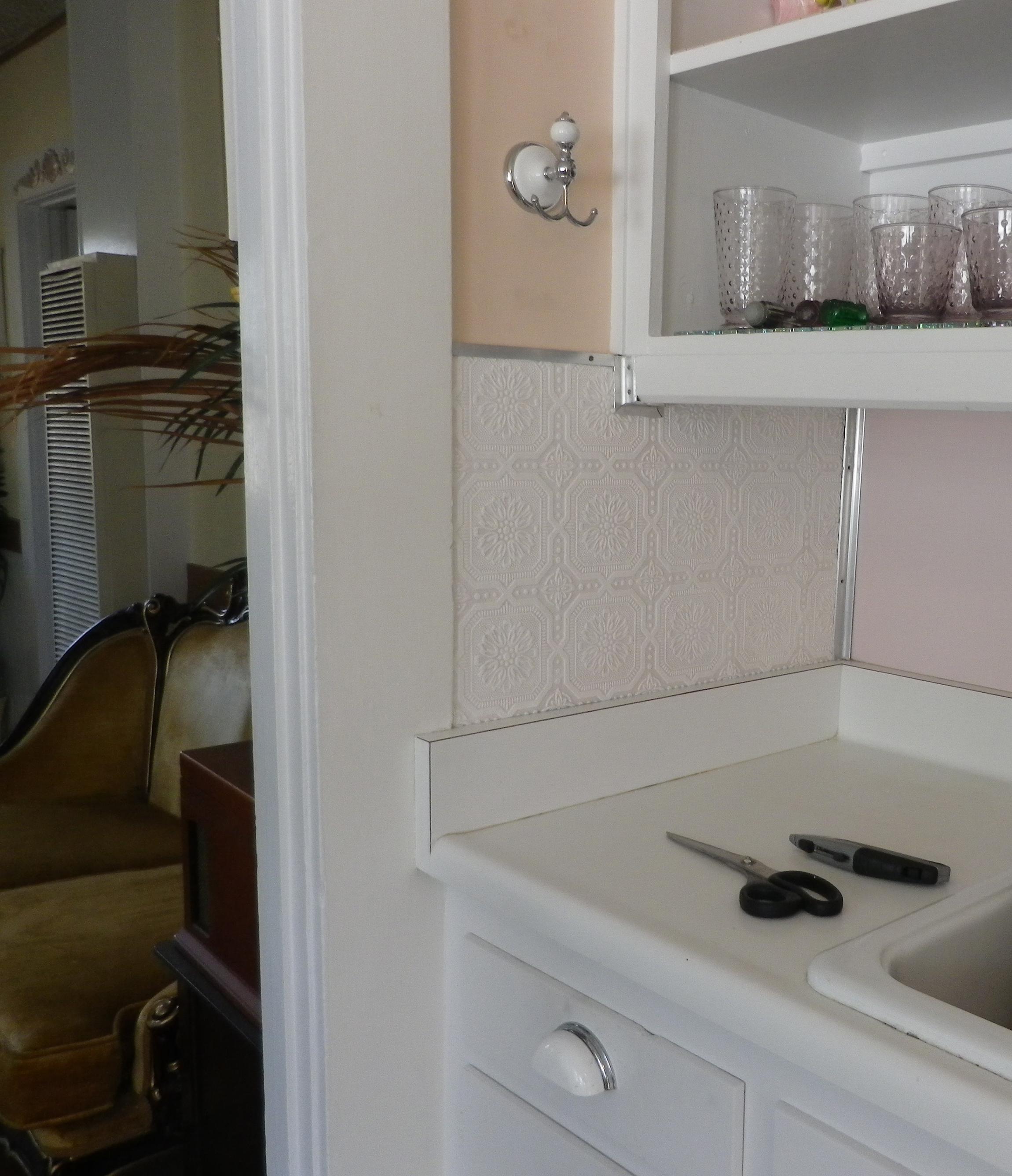 Plastic Backsplash For Kitchen: Tile Backsplash Over Wallpaper
