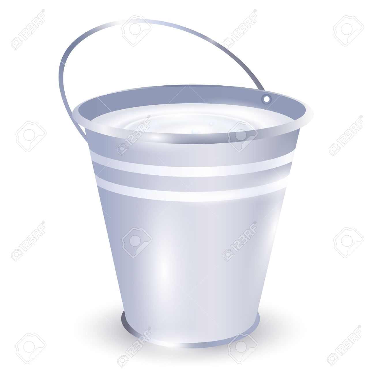 Metal Bucket With Milk Over White Background Royalty Cliparts 1297x1300
